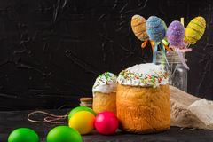 Easter cake and Easter eggs, traditional holiday attributes Happy Easter!. food background. top view royalty free stock photos