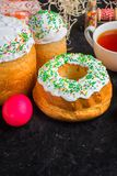 Easter cake and Easter eggs, traditional holiday attributes Happy Easter!. food background. top view royalty free stock photography