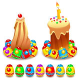 Easter Cake and Eggs. Set of Easter cakes and colorful painted Easter eggs Stock Photo