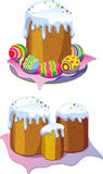 Easter cake and eggs. Orthodox traditional Easter cake and eggs Stock Photo
