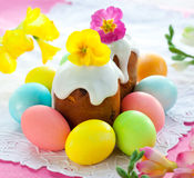 Easter cake and eggs Stock Photography