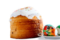 Easter cake and eggs Royalty Free Stock Image