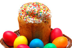 Easter cake and eggs. Beautiful easter cake and eggs on white background Royalty Free Stock Photo