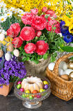 Easter cake and eggs with beautiful spring flowers Royalty Free Stock Photography