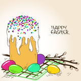 Easter cake, eggs and branch of willow vector illustration