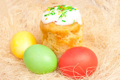 Easter cake and eggs on the bright Royalty Free Stock Image