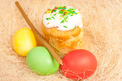 Easter cake and eggs on the bright Royalty Free Stock Images