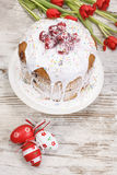 Easter cake, eggs and bunch of tulips Royalty Free Stock Photo