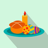 Easter cake with eggs and burning candle flat icon Stock Photography