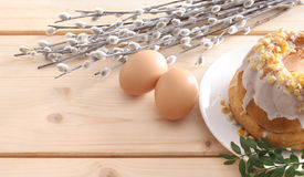 Easter cake, eggs and catkins Royalty Free Stock Image