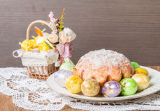 Easter cake and eggs. On festive Easter table Stock Image