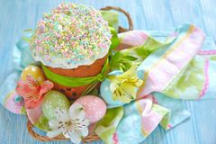 Easter cake and eggs Stock Images