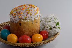 Easter cake and eggs Stock Image