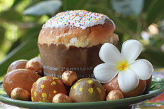 Easter cake. And eggs on Holy Pascha Stock Photo