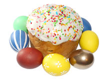 Easter cake and eggs (image with clipping path) Stock Images