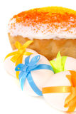 Easter cake and eggs. Isolated on white Stock Image