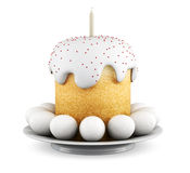 Easter cake and eggs on a platter. 3D render image Royalty Free Stock Image