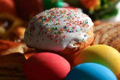 Easter cake and eggs Royalty Free Stock Images