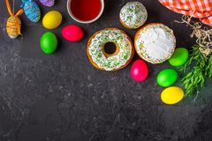 Easter cake and Easter eggs, traditional holiday attributes Happy Easter!. food background. top view stock photos
