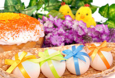 Easter cake, eggs and two chicken Royalty Free Stock Image