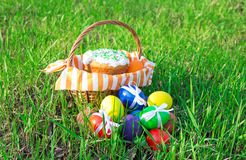 Easter cake on green spring grass Royalty Free Stock Images