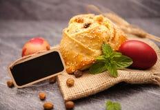 Easter cake with halloumi - Flaounes Stock Photo