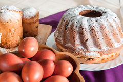 Easter cake with icing sugar and eggs Royalty Free Stock Photo