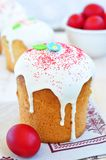 Easter cake kulich , Russian traditional, white background. selective focus Stock Image