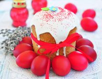 Easter cake kulich , Russian traditional, white background. selective focus Royalty Free Stock Photography