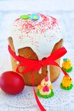 Easter cake kulich , Russian traditional, white background. selective focus Stock Photography
