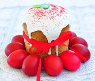 Easter cake kulich , Russian traditional, white background. selective focus Royalty Free Stock Photos