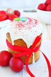 Easter cake kulich , Russian traditional, white background. selective focus Royalty Free Stock Photo