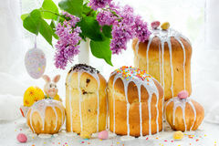 Easter cake kulich. Traditional Russian Easter bread Stock Photo