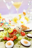 Easter cake, Marzipan cake with pistachio, Easter bunny figurine and fondant Stock Photo