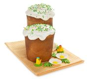 Easter cake and marzipan decor Stock Photo