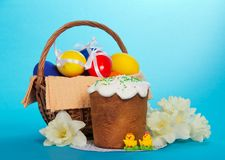 Easter cake, marzipans, flowers and eggs Royalty Free Stock Images
