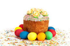 Easter cake and сolor eggs Royalty Free Stock Image