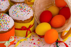 Easter cake and painted eggs. Royalty Free Stock Image