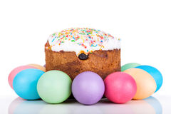 Easter cake and painted eggs Royalty Free Stock Images