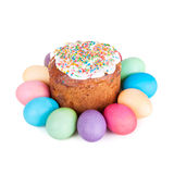 Easter cake and painted eggs Royalty Free Stock Image