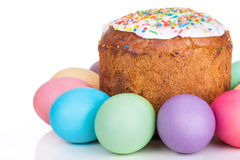 Easter cake and painted eggs Royalty Free Stock Photo