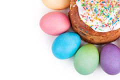 Easter cake and painted eggs Stock Photography