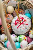 Easter cake and painted eggs. On the feast of Orthodox Easter, traditional dishes - Easter cakes and painted eggs-play a very important role. They fit into the royalty free stock images