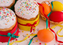 Easter cake and painted eggs. Stock Images