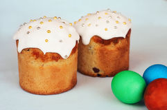 Easter Cake and Painted Eggs Stock Images