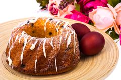 Easter cake and painted red eggs royalty free stock photo