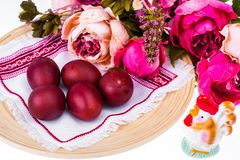 Easter cake and painted red eggs stock photo