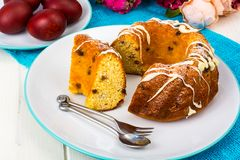 Easter cake and painted red eggs stock photos