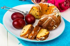Easter cake and painted red eggs royalty free stock image