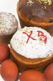Easter cake and paschal eggs Royalty Free Stock Photo